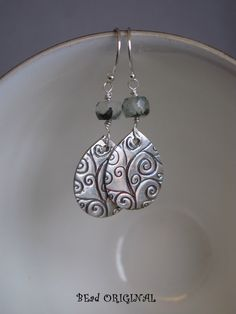 Fine Silver and Prehnite Teardrop Earrings by BEadORIGINALbyLiz on Etsy