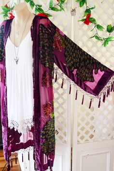 CANNOT MISS THIS PRE~ORDER!!! ➳ BURNOUT VELVET ➳  BEADED WINE SILK BLEND KIMONO