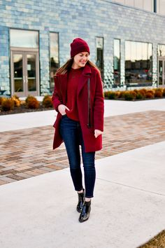 Heathered clay and burgundy shades of red tonal monochrome winter outfit — Cotton Cashmere Cat Hair Marc Fisher Boots, Color Combinations For Clothes, Cashmere Beanie, Monochrome Outfit, Other Outfits, Outfit Posts, Her Style, Outfit Of The Day, Winter Outfits