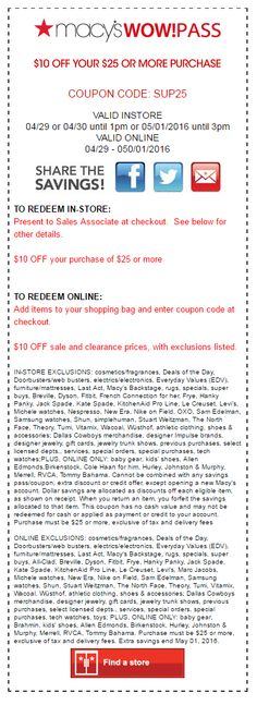 01c612926 37 Best Macy's Coupon Codes & Printable Coupons images | Coupon ...