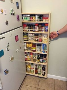 Make better use of that small space next to your fridge and make a slide-out pantry. . http://www.instructables.com/id/Hidden-Fridge-Gap-Slide-Out-Pantry/