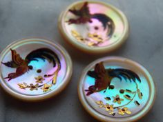 """Lot 3 Antique MOP Painted Persian? BUTTONS Mother of Pearl Bird of Paradise 7/8"""" in Collectibles, Sewing (1930-Now), Buttons   eBay"""