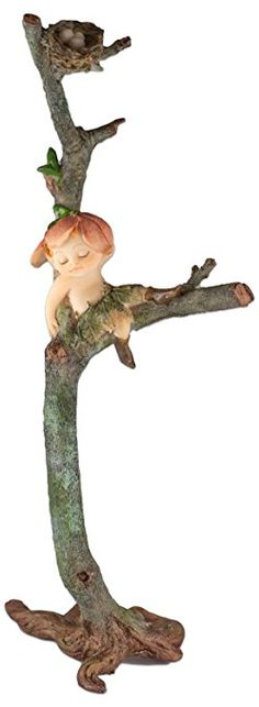 "Custom & Unique {9"" x 3.5"" Inch} 1 Single, Home & Garden ""Standing"" Figurine Decoration Made of Grade A Resin w/ Garden Sprite Fairy Sleeping On Branch w/ Nest Style {Green, Beige, & Brown}"