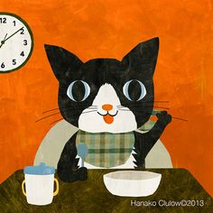 A cat at breakfast by ilikesleeping Hanako Clulow