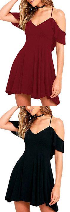 Cold Shoulder Backless Mini Dress