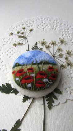 Needle felted brooch with embroidery Wool felt от FeltAccessories
