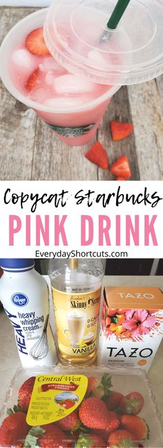 When you have a slight addiction to Starbucks but dont want to shell out the money this Copycat Starbucks Pink Drink recipe is a good one to make. It tastes the exact same with no caffeine and is Keto Friendly! Starbucks Pink Drink Recipe, Low Carb Starbucks Drinks, Pink Drink Recipes, Healthy Starbucks, Pink Starbucks, Starbucks Recipes, Pink Drinks, Yummy Drinks, Keto Frappuccino Recipe
