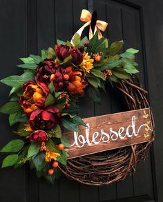 Fall Wreaths for front Door Autumn Wreath Blessed Wreath Fall Door Decor Grapevine Wreath Autu Kränze dekorieren Thanksgiving Wreaths, Thanksgiving Decorations, Holiday Wreaths, Autumn Decorations, Christmas Door Wreaths, Winter Wreaths, Spring Wreaths, Autumn Wreaths For Front Door, Front Door Decor