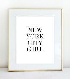 New York City Girl Typography Print in Black by Riverwaystudios, $14.00
