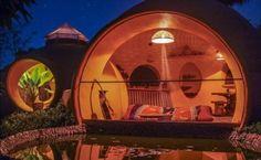 Circular room with pond