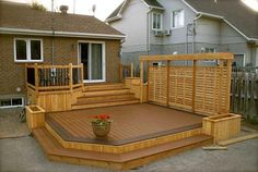 Book now for early bird prices simplified patio deck ideas Patio Images, Tiered Deck, Decks And Porches, Patio Decks, Decking, Small Backyard Decks, Flagstone Patio, Wood Patio, Small Backyards