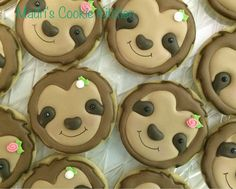 sloth night last night. Cupcakes, Cupcake Cookies, Sugar Cookies, Birthday Cookies, Sloth Cakes, Shaped Cookie, Royal Icing Cookies, No Bake Treats, Cookie Designs