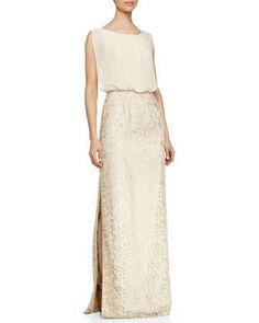 Chiffon-Top Lace-Skirt Gown, Champagne  by Aidan Mattox at Neiman Marcus.