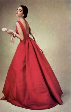 Model wearing a gown by Givenchy, 1956.