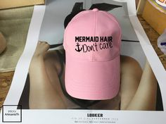 Mermaid hair don't care Black Pink White - Baseball Cap, Tumblr hat , Dad Hat Dad Cap Baseball Hat Baseball Cap , Low-Profile Baseball Cap