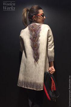 """Купить Цельноваляное пальто """"Зимние узоры"""" - бежевый, орнамент, натуральный цвет, нежно-бежевый, пальто"""