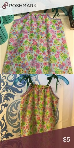 Flower and Frog Print toddler dress This pink and purple flowers with green frog print dress is so adorable. Custom made and given as a Christmas gift to my then three year old little girl was so cute for spring and summer. It also has Green ribbons for over the shoulder ties. #poshmini Dresses Casual