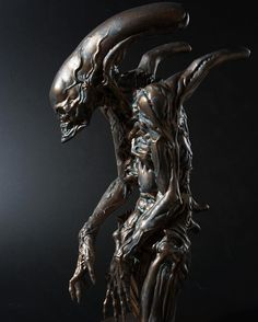 Alien Matriarch sculpture | Faux bronze finish done using Modern Masters Metal Effects | Artistry by sculptor Dominic Qwek Art