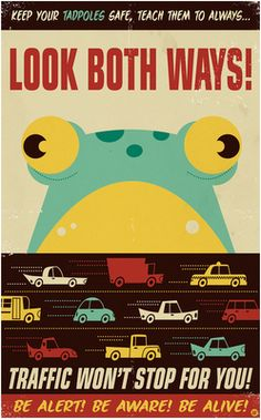 Old-timey educational poster, a la Frogger