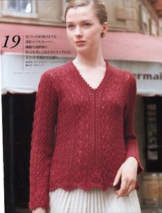 red japanese lace lady knit sweater