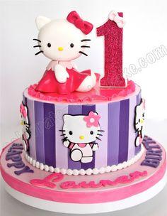 Celebrate with Cake!: 1st Birthday Hello Kitty & Stripes Cake