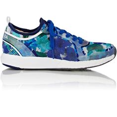 adidas x Stella McCartney Women's CC Sonic Sneakers ($59) ❤ liked on Polyvore featuring shoes, sneakers, blue, lace up flat shoes, adidas sneakers, adidas shoes, blue flat shoes and low profile sneakers