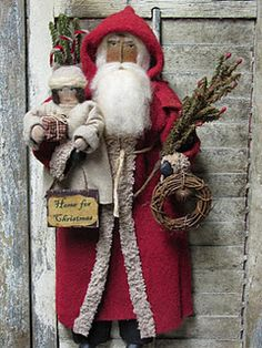Primiitive - use white batting santa and 2 kids to make into a hanging