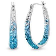 Sterling Silver Teal Blue Ombre Crystal Hoop Earrings with Swarovski Elements