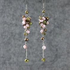 Pearl earrings chandelier long dangle bridal by AniDesignsllc, $10.95