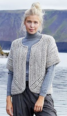 a0d26e9428e63f Free Knitting Pattern for Easy Jutka Cardigan - Short sleeved garter stitch cardigan  knit with bulky yarn. Body knit in one piece. Sleeves knit separatedly.