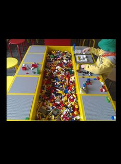 DIY Lego Tables - Perfect for Kids of All Ages How to Build a Lego Table for Your Children: How To Build A Great Lego Table – Vizimac Table Lego Diy, Lego Play Table, Lego Tray, Kids Play Table, Legos, Deco Lego, Lego Storage, Craft Storage, Storage Ideas