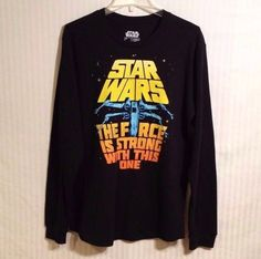 Star Wars Large Black Men's Long Sleeve Graphic Thermal Casual Shirt Fifth Sun #FifthSun #Thermal