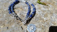 Beaded Gemstone  Bracelet with Blue/White by GemsJewelsGirls