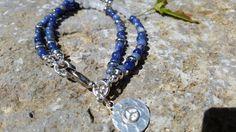 Beaded Gemstone  Bracelet with Blue/White by GemsJewelsGirls