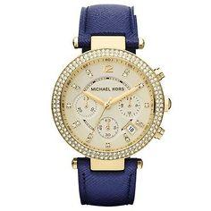 Mid-Size Navy Leather Parker Chronograph Glitz Watch