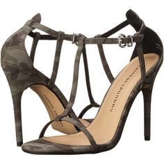 Chinese Laundry Leo T Strap Sandal (Olive Camouflage) High Heels ($50) ❤ liked on Polyvore featuring shoes, sandals, olive, t strap high heel sandals, chinese laundry shoes, olive green shoes, olive green sandals and summer shoes