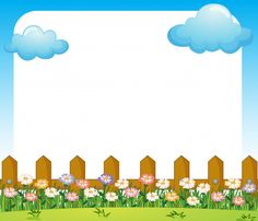 An empty paper template with a garden and clouds Free Vector Kids Background, Flower Background Wallpaper, Cartoon Background, Textured Background, Boarder Designs, Page Borders Design, Powerpoint Background Templates, Teacher Classroom Decorations, Boarders And Frames