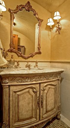 Sammamish Tuscan Estate - mediterranean - powder room - seattle - Gelotte Hommas Architecture