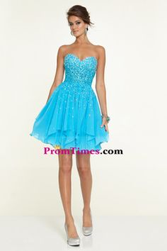 2015 Sweetheart A Line Short/Mini Prom Dress Chiffon With Beads And Rhinestone USD 159.99 PTP5ZZ3Q6T - PromTimes.com for mobile