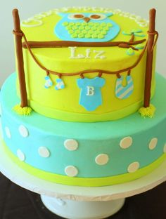 owl themed baby shower cake made to match invite. Butter cream with fondant decorations