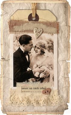 Sweet On Each Other ~ Mixed media photo tag...a pretty embellishment for a heritage wedding page.