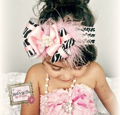 Baby Girl Zebra and baby pink double boutique bow,crochet headband,