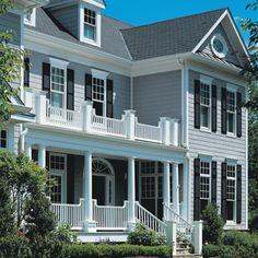 Vinyl Siding Post - light grey siding with white trim and black shutters Grey Exterior, Exterior House Colors, Exterior Design, Exterior Paint, White Farmhouse, Farmhouse Design, Farmhouse Plans, Farmhouse Decor, Roof Design