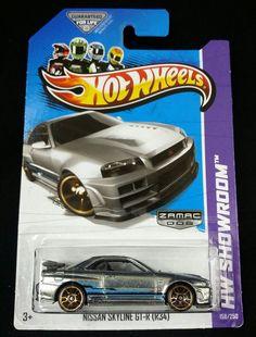 Hot Wheels 2013 ZAMAC Nissan Skyline GT-R R34 Silver Rare Metal HW Showroom #HotWheels #Nissan