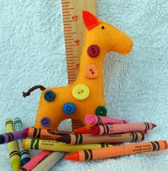 Rainbow Button Giraffe by MockingbirdWorkshop on Etsy