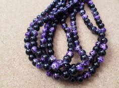 50 x Transparent Drawbench Glass Beads - Round - 8mm - Black - Purple  £1.80