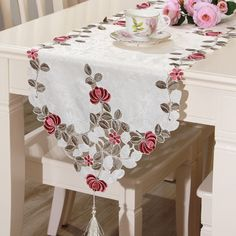 Modern pastoral fabric embroidered red rose hollow tassel table runner