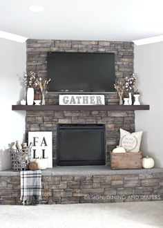 Rustic Fall Mantel using neutrals and texture: