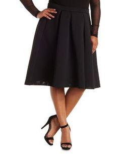 Plus Size Pleated Scuba Midi Skirt #CharlotteRussePlus