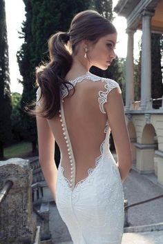 Berta Bridal Sexy Lace Sheer and Deep V Back with Pearl Button Mermaid Wedding Dress